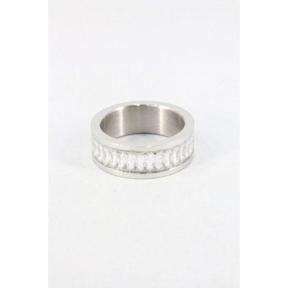 Nemesacél hasáb kristályos gyűrű, natur