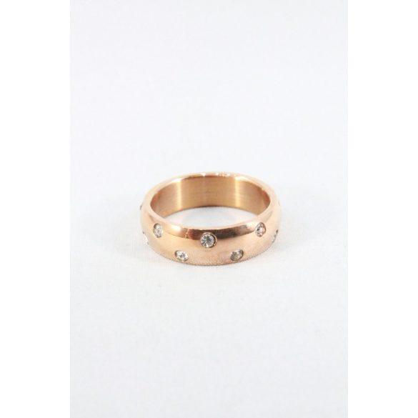 Nemesacél pöttyözött kristályos gyűrű, rózsaarany