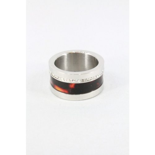 Nemesacél tigrismintás kristályos gyűrű, natur