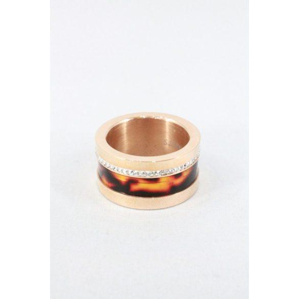 Nemesacél tigrismintás kristályos gyűrű, rózsaarany