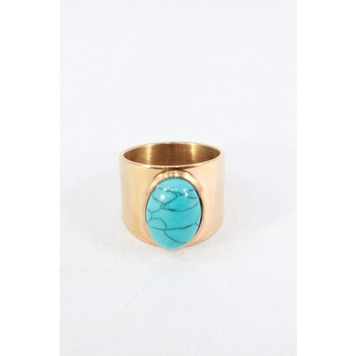 Nemesacél türkiz köves gyűrű, rózsaarany