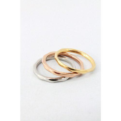 Nemesacél háromszínű három darabos gyűrű