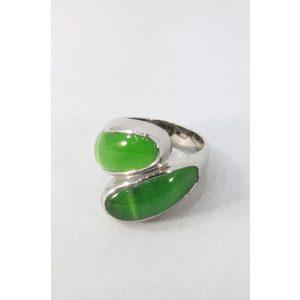Nemesacél zöld szirom köves gyűrű