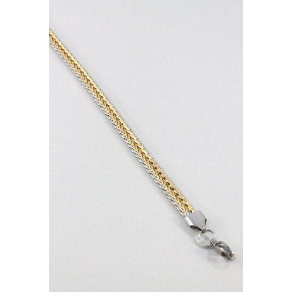 Nemesacél Gerinc mintás férfi karkötő, arany-natur 6mm
