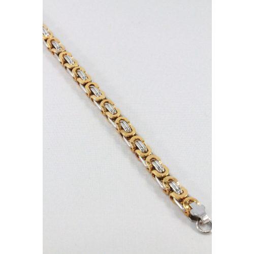 Nemesacél Lapos Király férfi karkötő, arany-natur 7mm