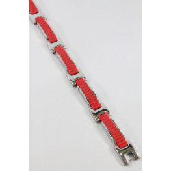 Nemesacél- Szilikon Piros férfi karkötő, 12mm