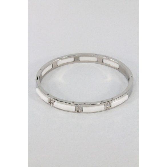 Nemesacél fehér porcelán-kristályos karkötő