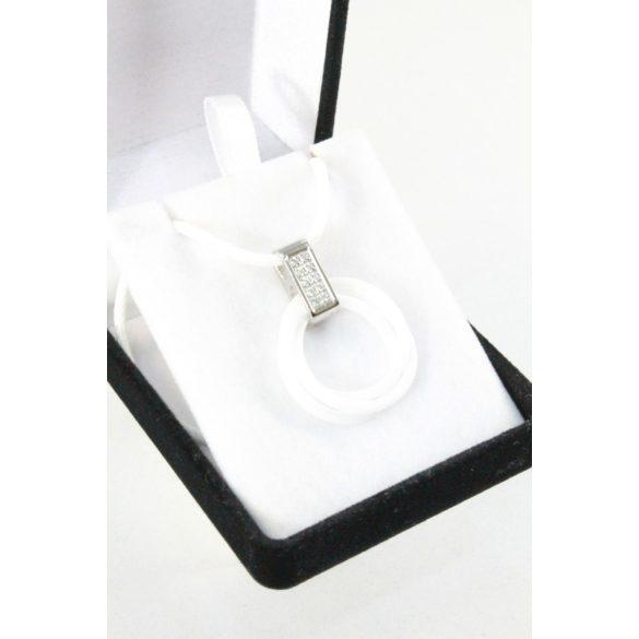 Nemesacél kristályos porcelán karikás nyakék, 23mm