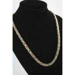 Nemesacél Lapos Király nyaklánc, kétszínű 55cm/7mm