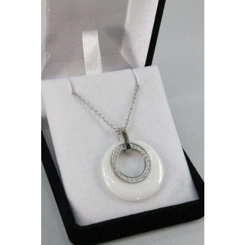 Nemesacél-Porcelán kristályos karikás nyakék, 26mm