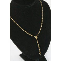 Nemesacél Rózsafűzér nyaklánc, aranyozott 50+8cm