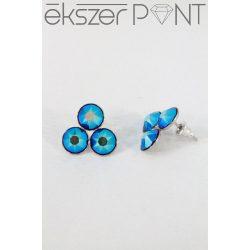 Nemesacél Swarovski kristályos Hárompöttyös fülbevaló, 8mm
