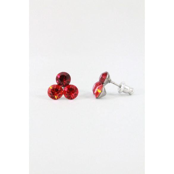 Nemesacél Swarovski kristályos Hárompöttyös fülbevaló, 5mm