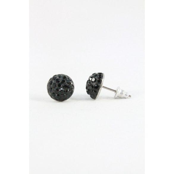 Nemesacél Swarovski aprókristályos beszúrós fülbevaló 10mm, Sötét színek