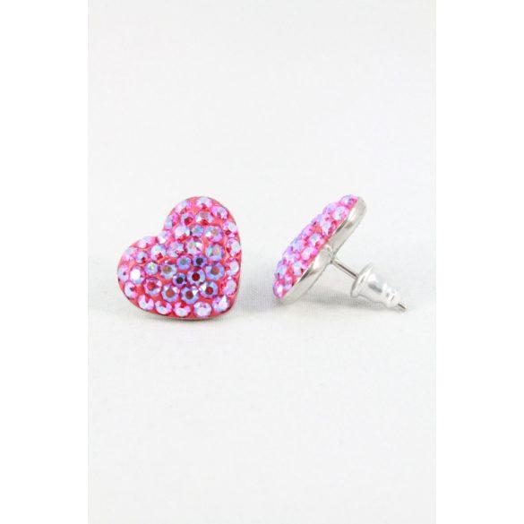 Nemesacél Swarovski aprókristályos Szívecske beszúrós fülbevaló, 15mm