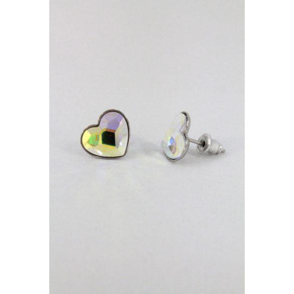Nemesacél Swarovski fazettált kristályos Szívecske fülbevaló 11mm
