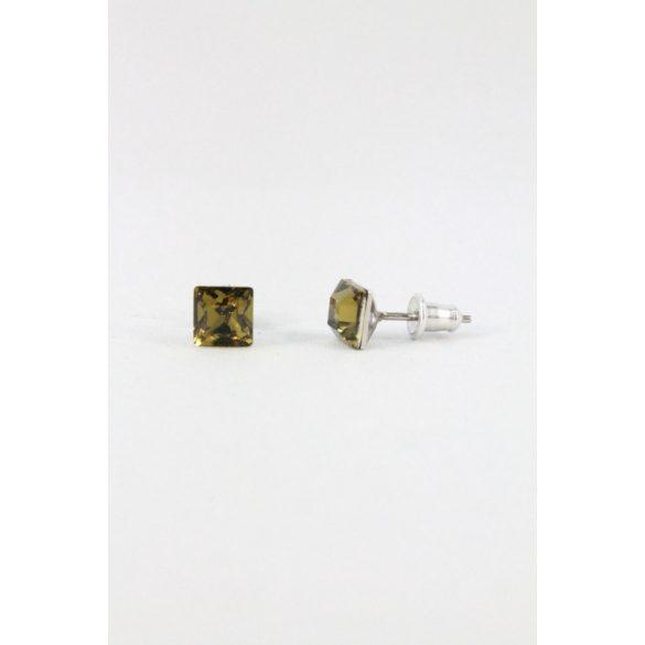 Nemesacél Swarovski kristályos Kocka beszúrós fülbevaló 6mm, sötét színek