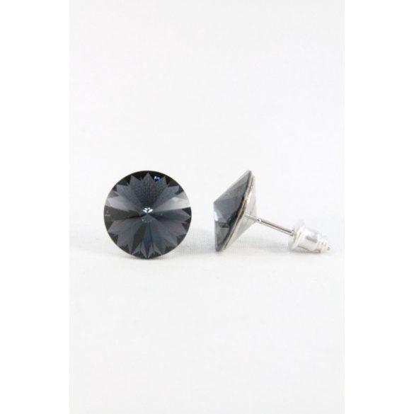 Nemesacél Swarovski kristályos beszúrós fülbevaló 12mm, Sötét színek 2