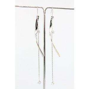 Nemesacél Swarovski kristályos lógós Íves fülbevaló, 10cm