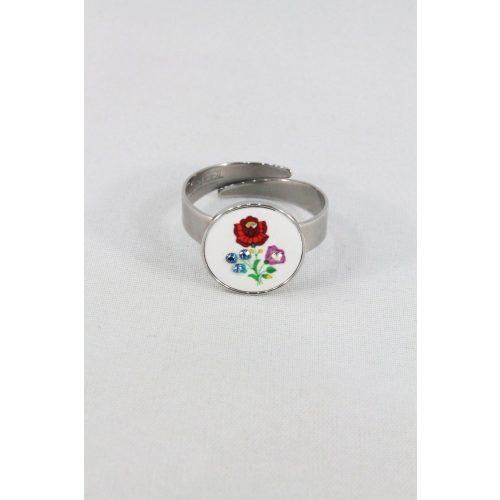 Nemesacél Swarovski kristályos Matyó gyűrű, fehér kerek