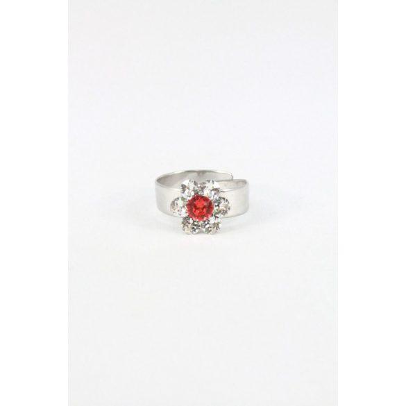 Nemesacél Swarovski kristályos Virágos Gyerek gyűrű