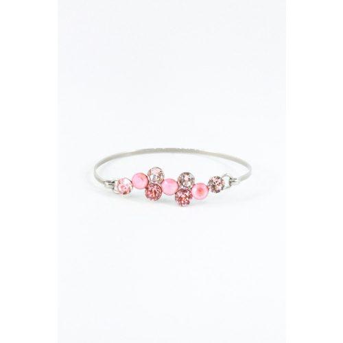 Nemesacél Swarovski pötty kristályos karkötő, rózsaszín mix