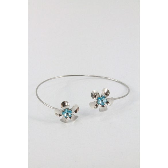 Nemesacél Swarovski kristályos Virág  karkötő, kék
