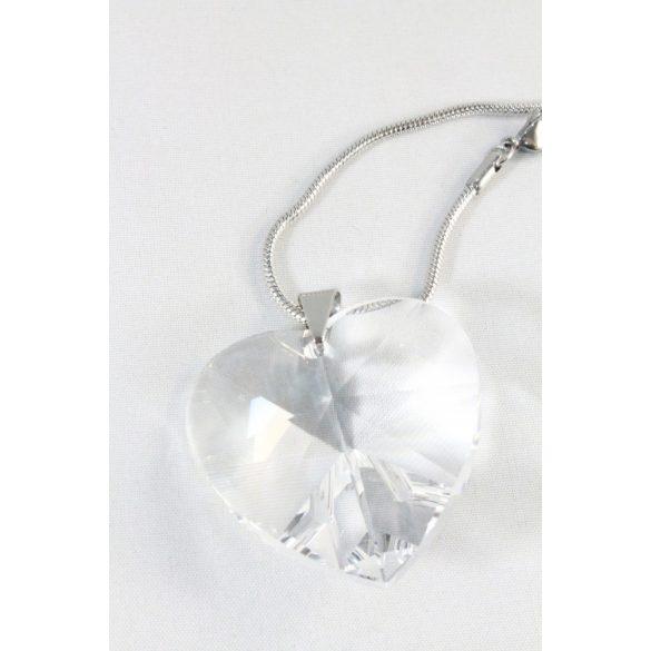 Nemesacél Swarovski kristályos Nagy Szív nyakék, 40mm