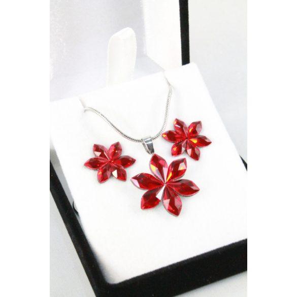 Nemesacél Swarovski kristályos virág szett